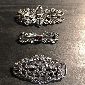 3 vintage silvertone pins with Marcasite style